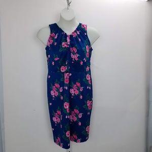 Poppy & Bloom Floral Sleeveless Dress Sz 14 Blue